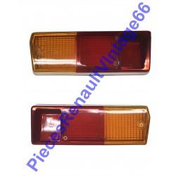 Jeux de 2 cabochons contour chromé de feux arrière droit et gauche pour Renault 12  phase 1 tous models