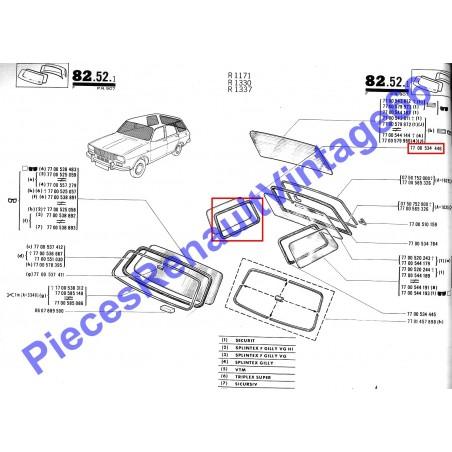 Joint de vitre latérale arrière droite pour Renault 12 break