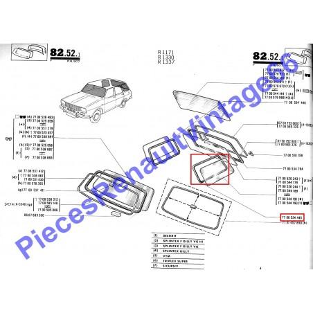 Joint de vitre latérale arrière gauche pour Renault 12 break