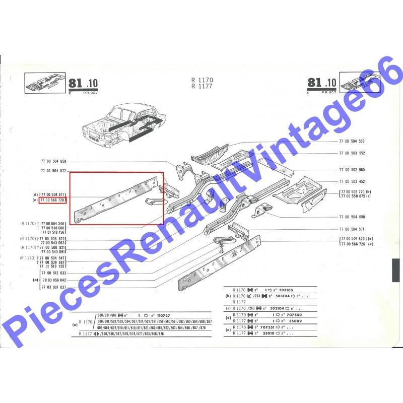 Tôle de fermeture de bas de caisse droit pour Renault 12, Renault 15 et Renault 17 tout model